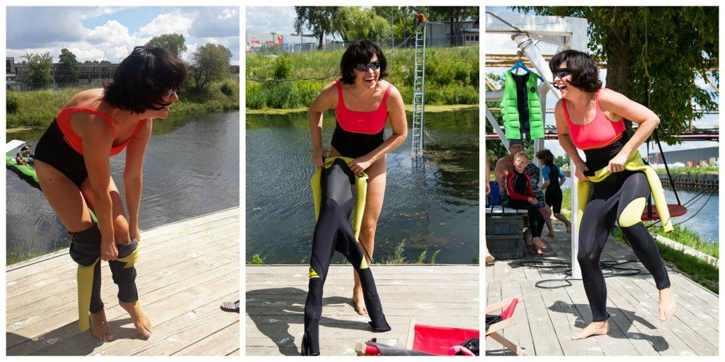 wakeboarding probuje wlozyc pianke