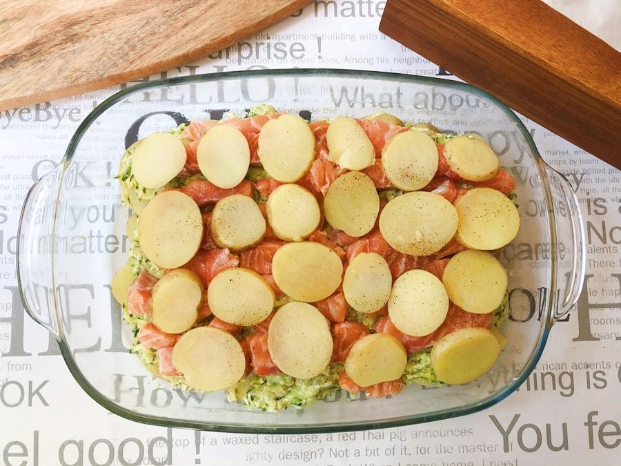 zapiekanka złososia, ziemniaków icukini 3
